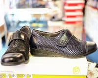 Jenny Ladies black soft leather comfort E - EE perfect fitting Velcro shoe. Available to buy online or collect from our Whitchurch Hampshire shop right between Basingstoke, Winchester, Newbury and Andover on the A34